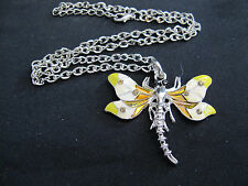 Necklace Dragonfly Enamel Sweater Silver Chain 48cm Beautiful Gift Idea NEW