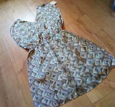 BNWT Lavand Turquoise Grey Cream Print Party Wedding Summer Flared Dress UK12/14