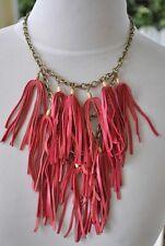 Lucky Brand Havana Red Fringe Leather Necklace Festival Chandelier Native NEW