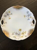 ANTIQUE DRESDEN GERMANY DESSERT PLATE 8.5 INCHES FLOWERS AND GOLD TRIM