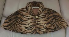 NEW WHAT GOES AROUND COMES AROUND Tiger Print Faux Fur Stole Cape Bolero OSFO