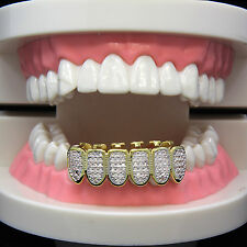 14k Gold Plated Hip Hop Iced Simulated Si CZ Teeth Grillz Caps Bottom Cap Grill