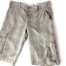 "NEW LOOK Shorts Men Waist 28"" Check Grey Long Festival Beach Cargo Casual"