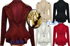 Womens Spike Stud Jacket Ladies Sexy Tail Back Peplum Frill Blazer Coat Top 8-14