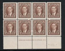 #232 Experimental LOWER plate block of 8 from sheet of 600 stamps #9 Cat $225