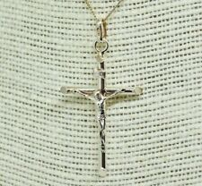 Vintage Sterling Silver Crucifix pendant cross and chain 18 inches long #P645