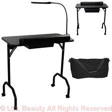 New Black Portable Manicure Nail Table Station Desk Salon Spa Beauty Equipment