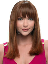 100% Real Hair! Chestnut Light Brown Wig Bang Straight Medium Long Wig