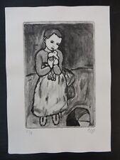 Original Radierung Lithographie Kind mit Taube Handsigniert nach P. Picasso