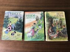 Lot of 3 Golden Illustrated Classic Heidi Eight Cousins Hardcover From 30s 40s