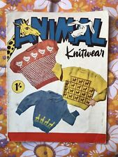 ANIMAL KNITWEAR KNITTING PATTERN BOOK Vintage 1940s 1950s Children's Jumpers