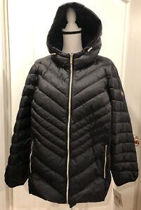 NWT Michael Kors Lightweight Jacket Puffer Hood Packable Down Black 2X $240