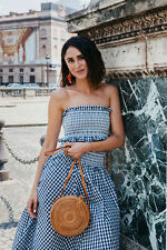 BLOGGERS FAV! ZARA GINGHAM CHECK NAVY WHITE MIDI SKIRT AND CROP TOP SET, SIZE L.