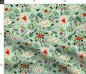 Vintage Ditsy Christmas Holiday Floral Spoonflower Fabric by the Yard