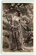 VTG Postcard RPPC Real Photo Hand Color ACTRESS NINA BARKIS Paris Risqué Lady A8