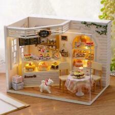 Dollhouse Miniature Furniture DIY Kit Wood Toy Cakes W/LED Cottage lights H S6E4