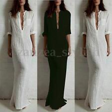 AU8-20 Women Long Sleeve V Neck Loose Linen Cotton Maxi Shirt Dress Kaftan Tops