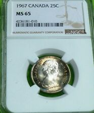TONED 1967 CANADA 25C  NGC Grade MS 65  (25 CENTS)