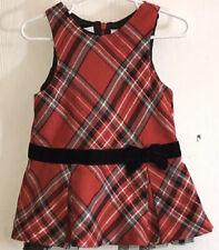 Koala Kid's Baby Girl's18M Jumper Red/Black/Silver Plaid Black Velvet Ribbon/Bow