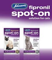 JOHNSONS FIPRONIL SPOT-ON TREATMENT DROPS FOR CATS KILLS FLEAS & TICKS NEW!