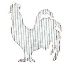 NEW - Farmhouse Rustic Corrugated Rooster Wall Hanging Decor