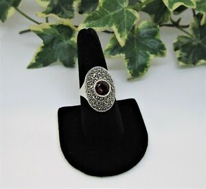 Judith Jack Garnet & Marcasite Sterling Silver Size 9 Ring