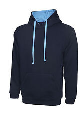 "2 X Uneek Contrast Hooded Sweatshirt Unisex Two Tone Hoodie Sweater (uc507) XL 46"" Navy / Sky"