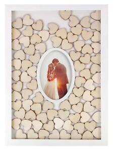 Personalized Wedding Guest Book Rustic Drop Top Box Wedding Signature 150 Hearts