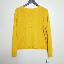 Neues Angebot89th + Madison Senf Gelb Pullover (Größe UK 14-16) Zopfmuster Bnwt