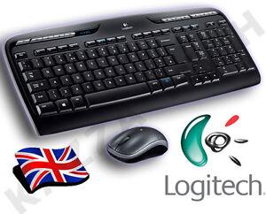 Logitech MK330 Wireless UK QWERTY KeyBoard & Mouse Desktop Combo Set in Black