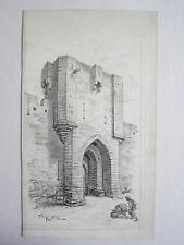 Dessin original à la plume Albert Robida illustrateur signé Tour Porte Avignon