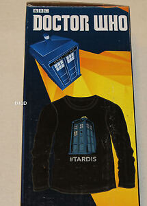 BBC Doctor Who Mens Tardis Black Printed Long Sleeve T Shirt Size L New