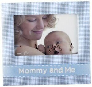 Mud Pie Mommy and Me Picture Frame 4x6 Blue & White Gingham
