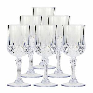 6 x VINTAGE CLEAR CRYSTAL EFFECT PLASTIC GLASSES DRINKING PICNIC GARDEN ACRYLIC