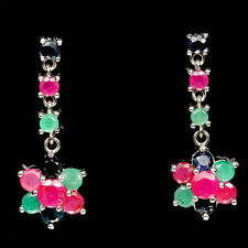 Natural RUBY, EMERALD & SAPPHIRE Stones 925 STERLING SILVER Flower Earrings