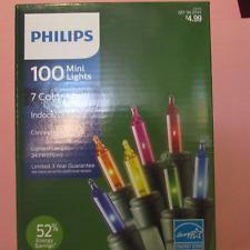 5x New Philips 100 ct Mini Lights 7 Color Multi / Green / Blue / Purple  LOT
