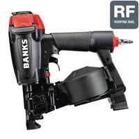 Banks 15° Coil Roofing Nailer Gun 3/4 in. - 1-3/4 in. Adjustable depth of drive