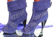 POUR LA VICTOIRE purple suede studded open toe ankle boots high heel UK 8 EU41