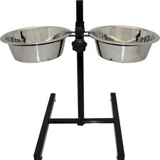 Raised Twin Dog High Feeder High Stand plus Bowls Adjustable Black Stand