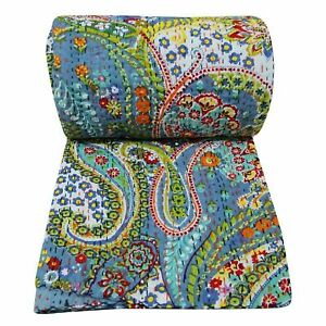 Indian Bedding Handmade Cotton Paisley Print Kantha Quilt Reversible Bedspread