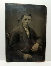 Tintype handsome young white man c.1870s, original photo; antique, old