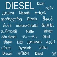 """Aufkleber """"Diesel"""" in vielen Sprachen"""