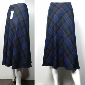 M&S Classic MIDI A-Line SKIRT with WOOL ~ Size 10 ~ PURPLE CHECK