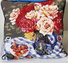 Vintage Needlepoint & Velvet Floral / Strawberries Pillow