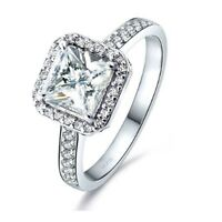 1.75 Ct Halo Princess AAA CZ Sterling Silver Engagement Ring Women's Size 5-10