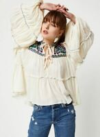 Free People In Vivid Color Top Floral Embroidered Boho Tunic Ivory XS NWT $148