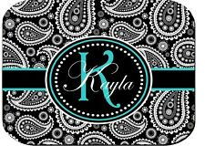 PERSONALIZED MOUSE PAD BLACK PAISLEY BLUE