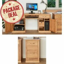 Mobel Solid Oak Furniture Hidden Twin Pedestal Desk And Filing Cabinet Package