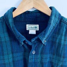 Mens LL Bean XXL Tall Green Blue Plaid Cotton Flannel Shirt Button Down 2XLT