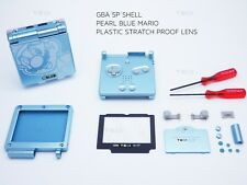 GameBoy Advance SP Pearl Blue Mario GBA Case Boîtier Shell Housing Outils Autocollant